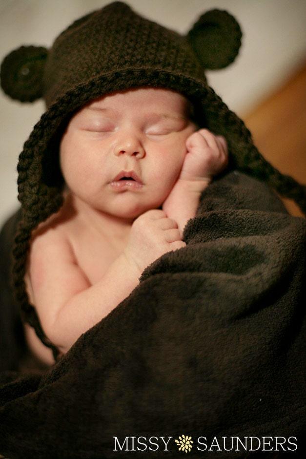 Crocheted Bear Earflap Hat