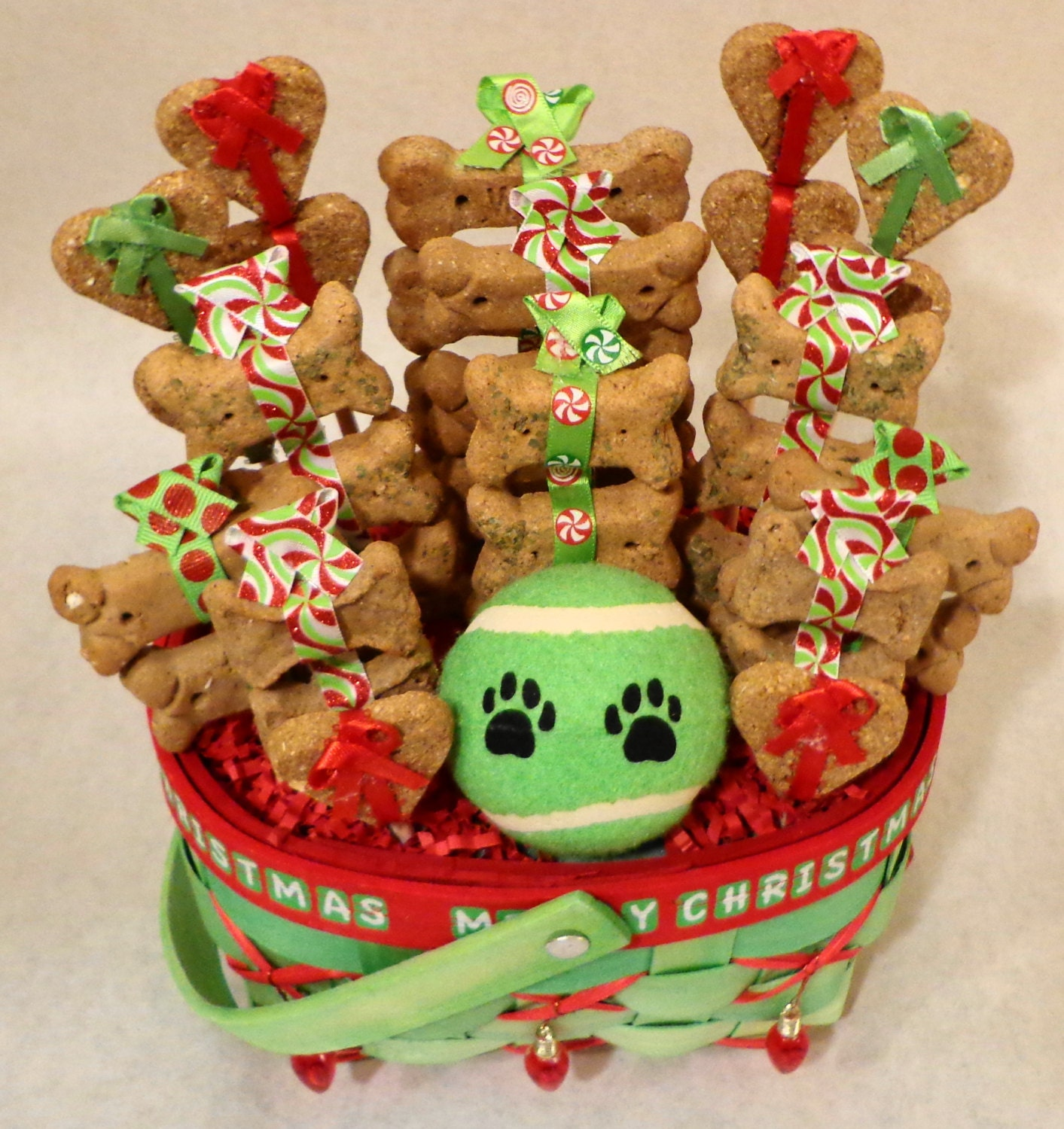 Christmas dog biscuit gift basket unique gift by for Unusual dog gifts