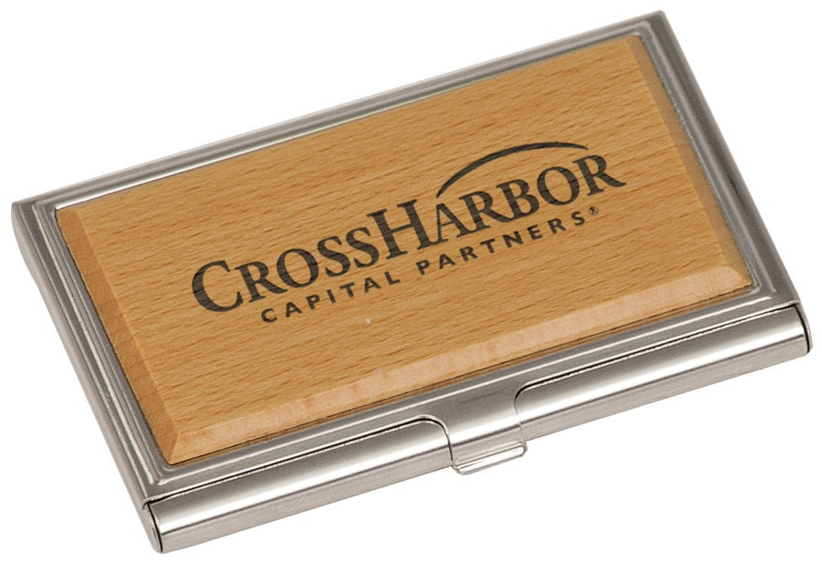 Wooden Business Card Holder Laser Engraved by