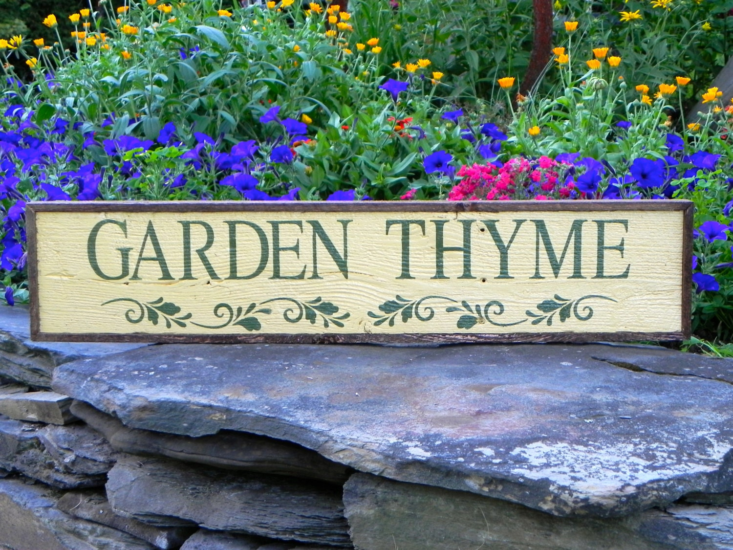 Garden thyme sign garden decor handmade wood by crowbardsigns for Outdoor decorative signs