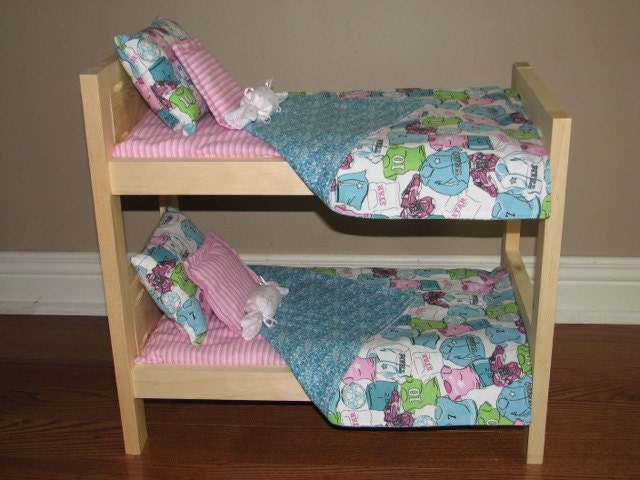 american girl doll bunk bed bedding set by mamcreations on etsy. Black Bedroom Furniture Sets. Home Design Ideas