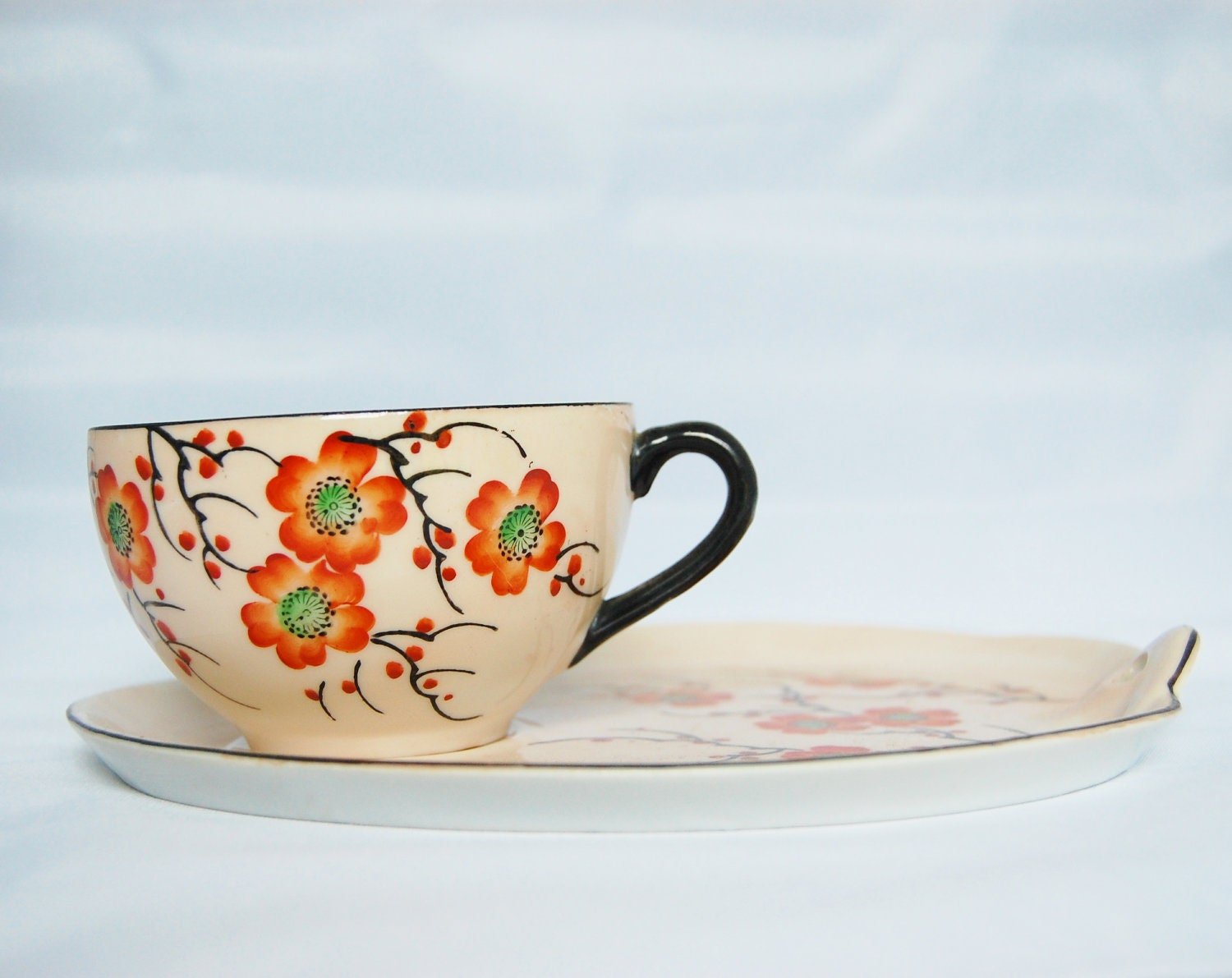 Vintage Delicate Hand Painted Cup Plate Snack Set Peach Blossom flowers - QuirkyQuriosities