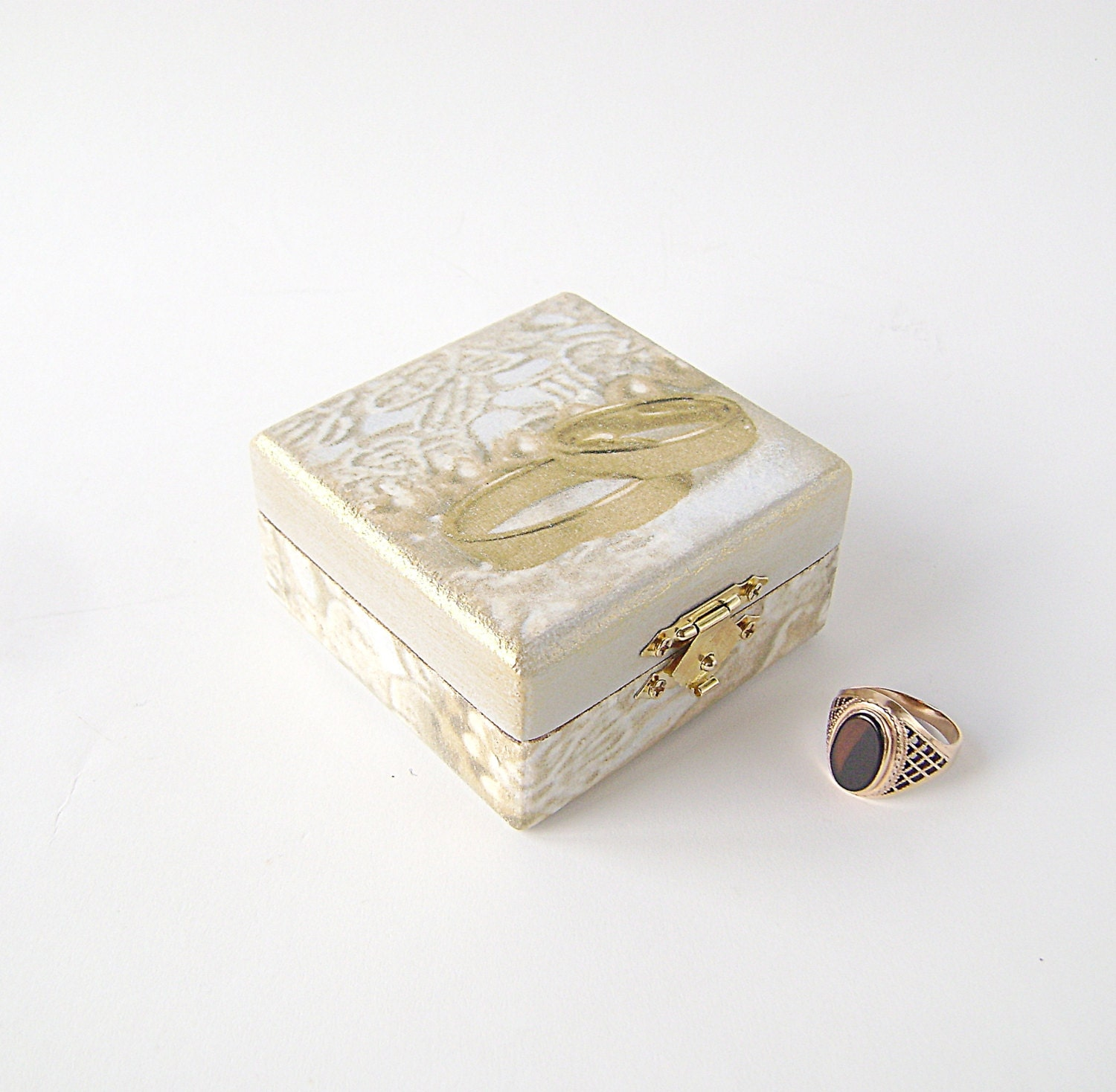 Grey Gold Ring Bearer Box , Wedding box, Treasure Box , Jewelry box , vintage style box, proposal ring box, wedding ring - NataliaDecor