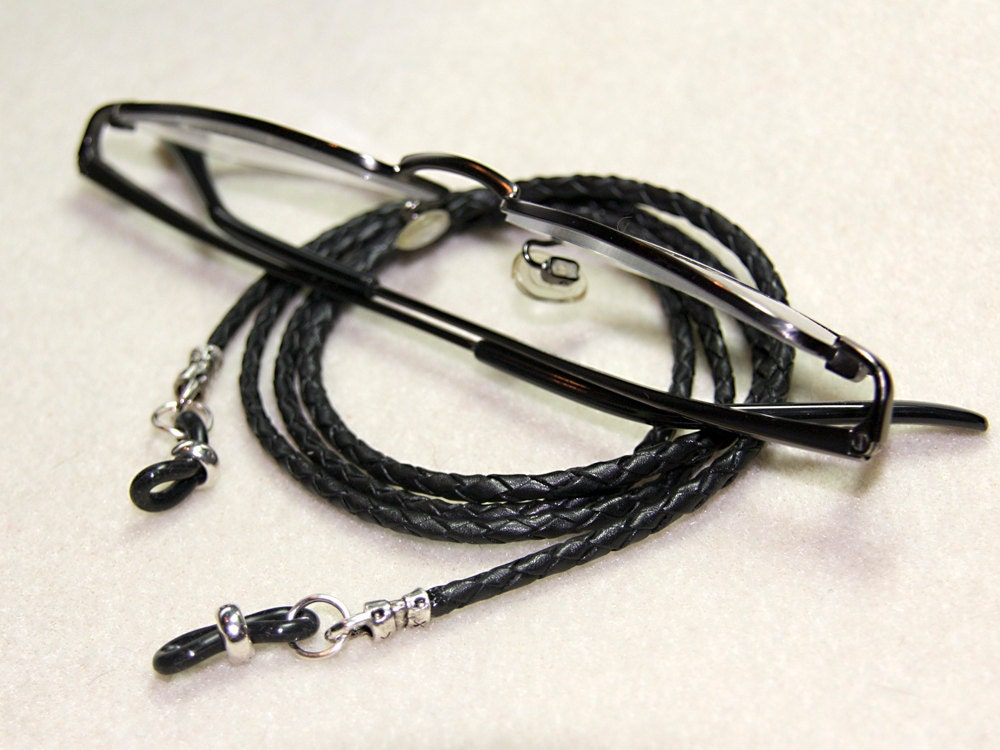 leather eyeglass leash for or in black by