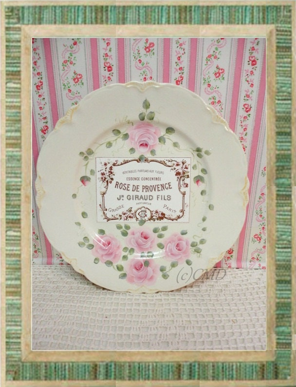 Vintage Plate, Hand Painted Rose and Rose De Provence Graphic, ECS, CSST