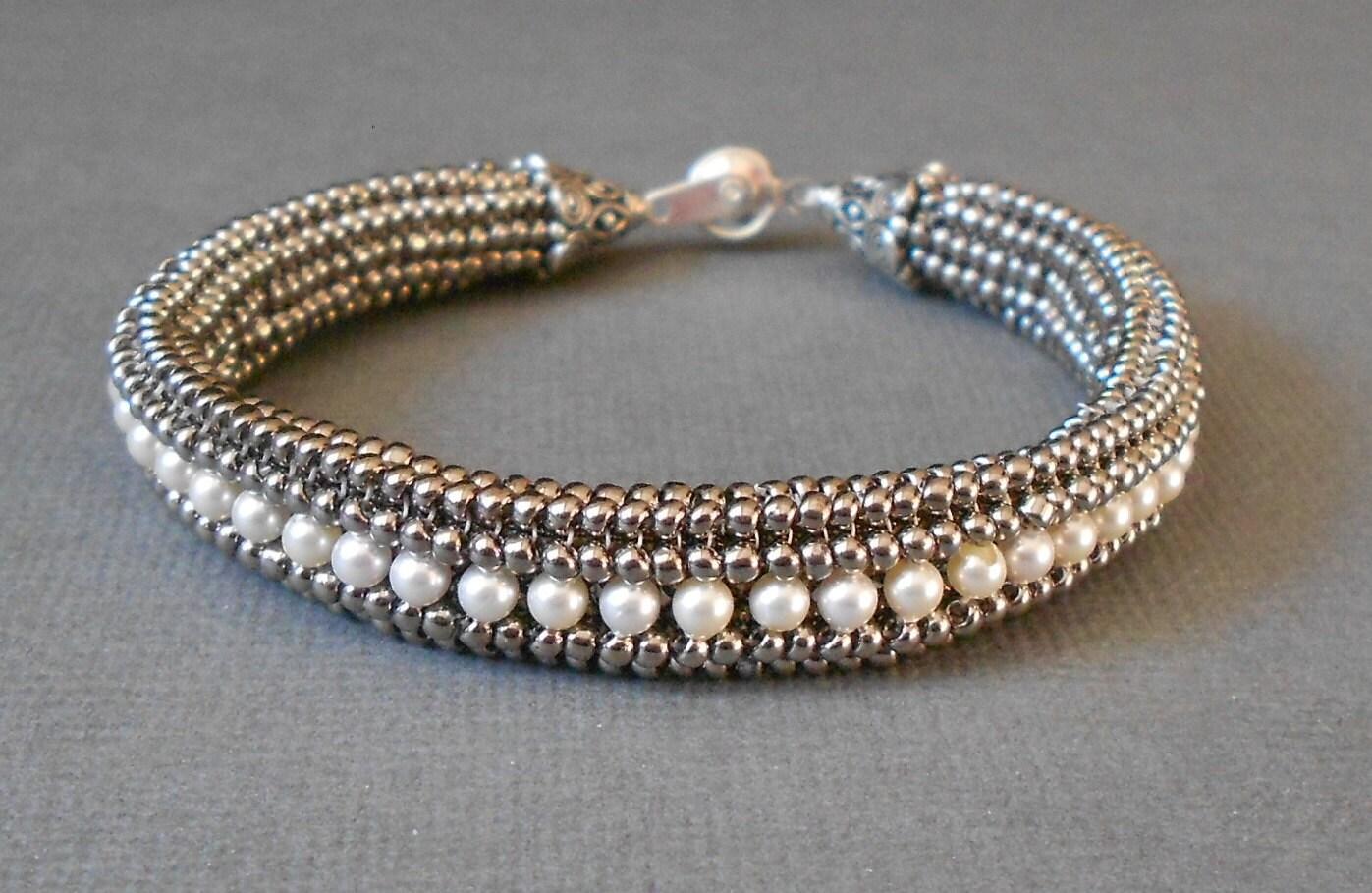 pearl beadwork bracelet