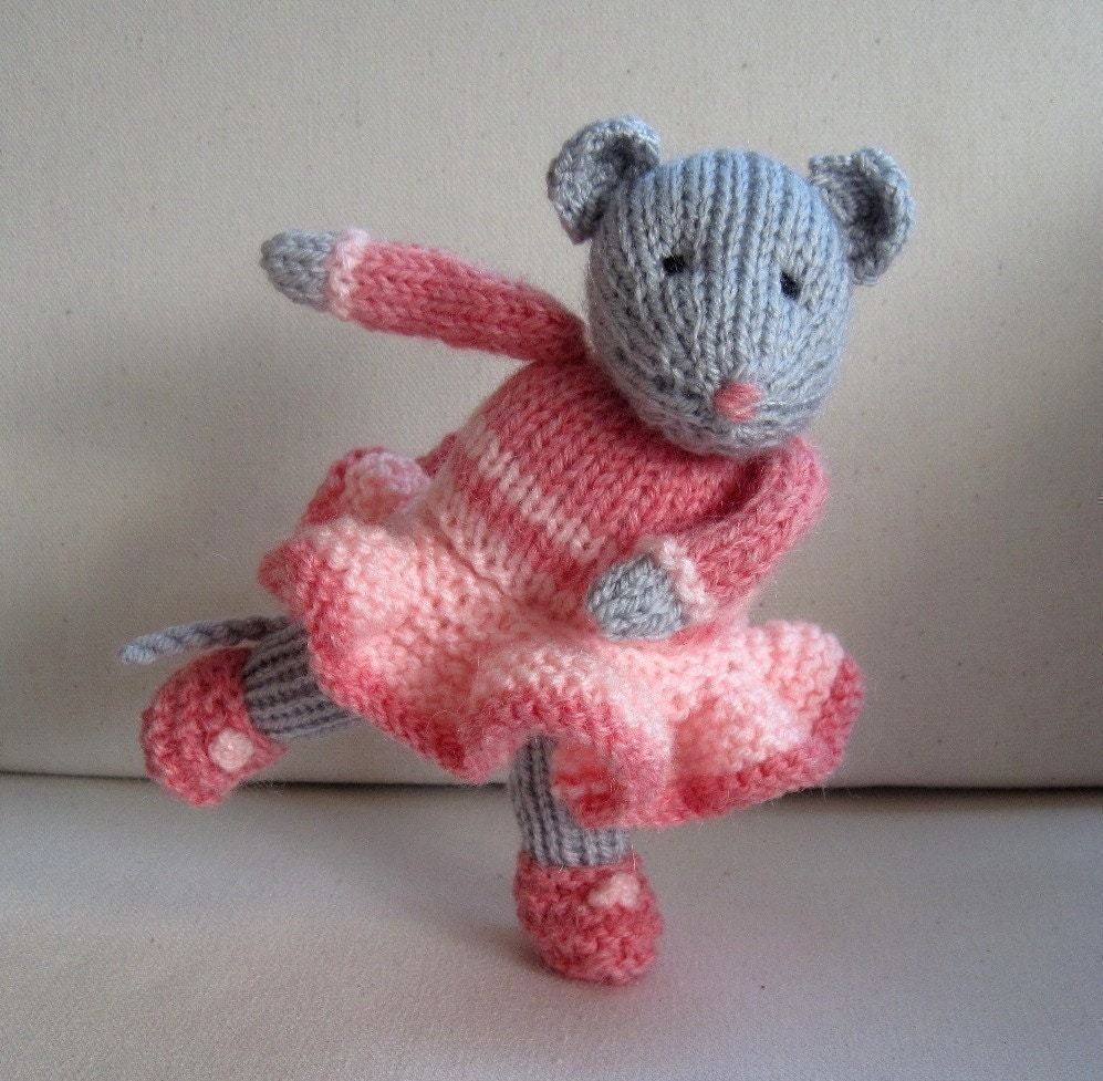Knitting Pattern Toy Mice : Darcy the Dancing Mouse knitted toy doll INSTANT by dollytime