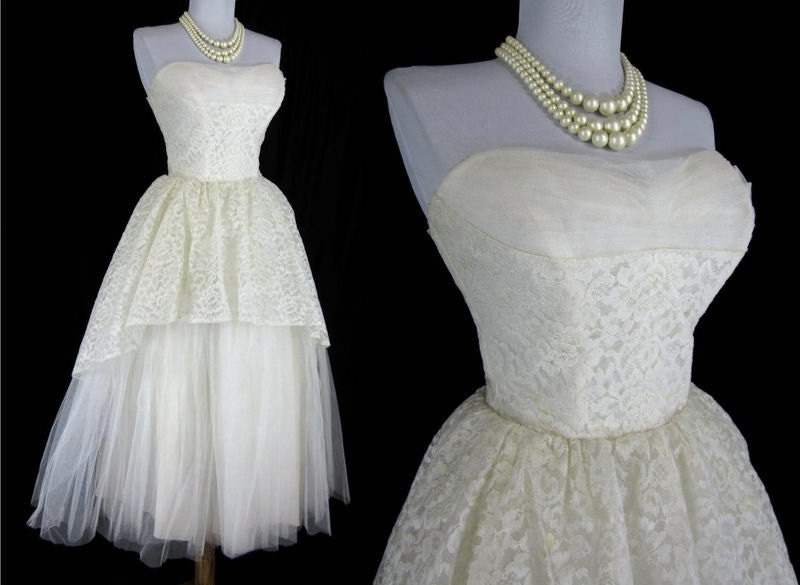 Vintage 1940s 1950s White Lace Tulle Prom Wedding Bolero Gown Dress S