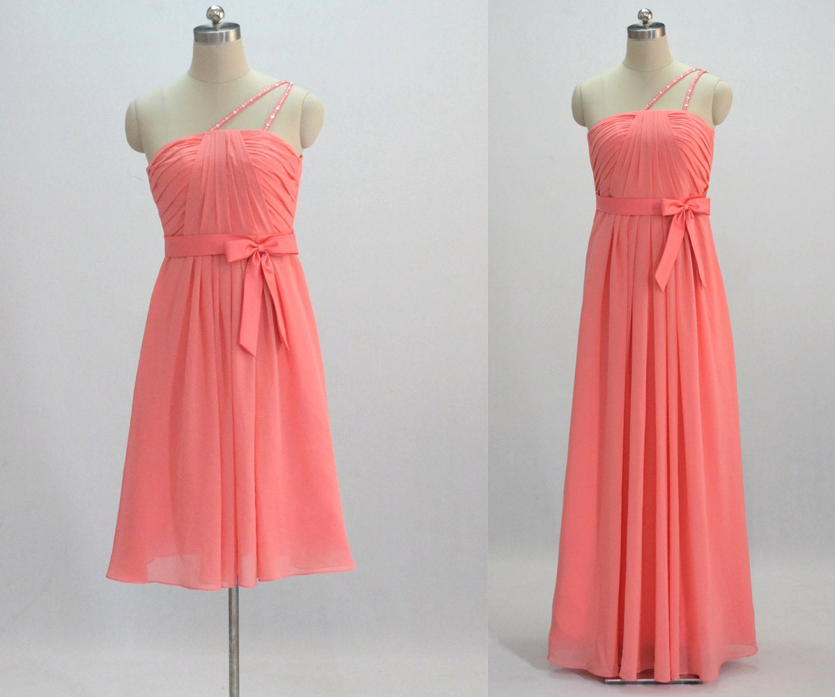 Coral Bridesmaid Dress Make To Order By 50Timeless On Etsy