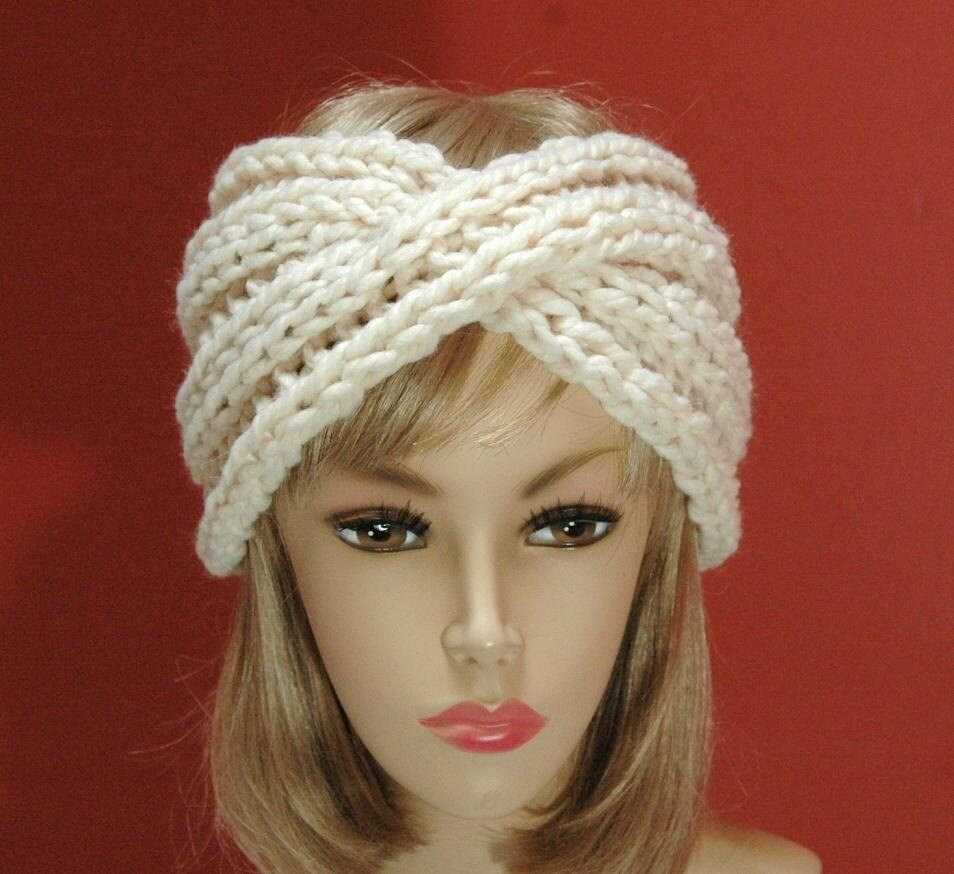 Twisted Headband Knit Pattern : Headband Earwarmer Chunky Twisted Knit in Neutral by PhylPhil