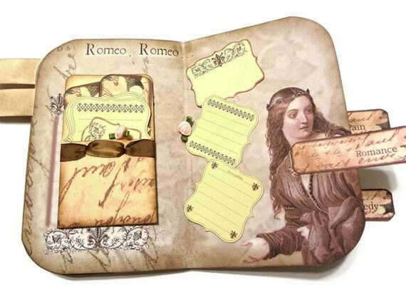Шекспир Art Journal, ручной журнал искусства, ручная работа Journal, Ромео и Джульетта журнал