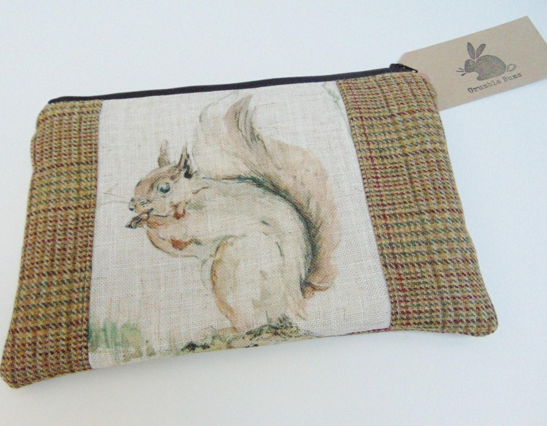 Handmade Makeup Bag  Squirrel Cosmetics Case Woodland Animal Country Tweed Bag