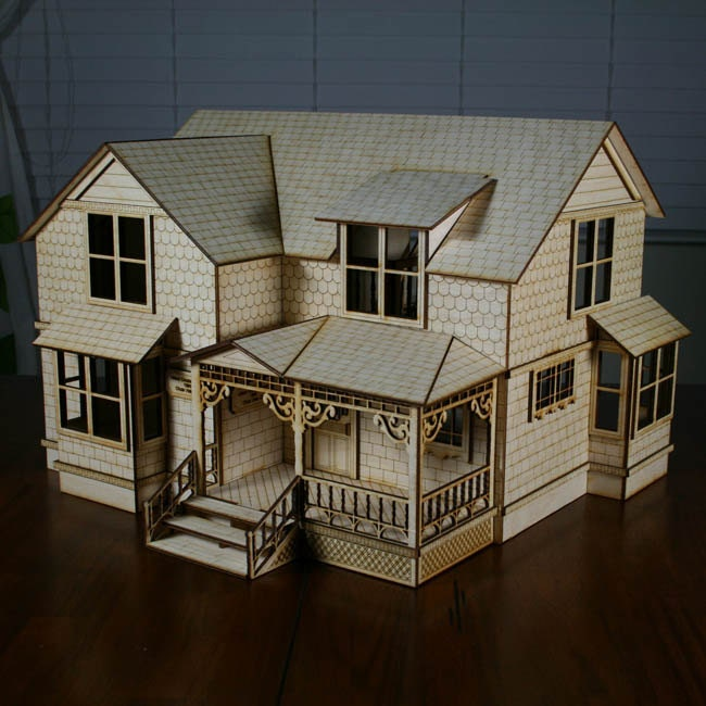 Crockett victorian dollhouse kit 1 2 scale by for Victorian style kit homes