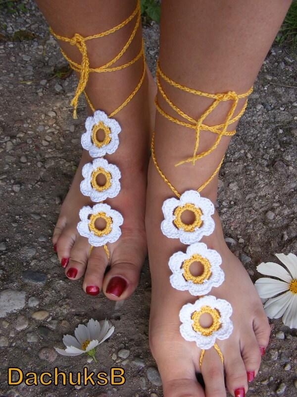 FLOWER GARDEN handmade crocheted barefoot sandals yellow with white  flowers