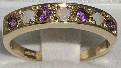 Solid 14K Yellow Gold Natural Colorful Opal  Amethyst Anniversary Eternity Ring  OctoberFeburary birthstone  Customizable