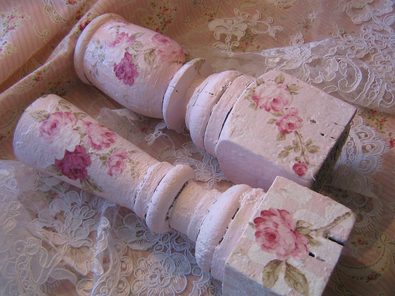 Pink Roses ARCHITECTURAL SALVAGE candle holders by ThePeonyShanty