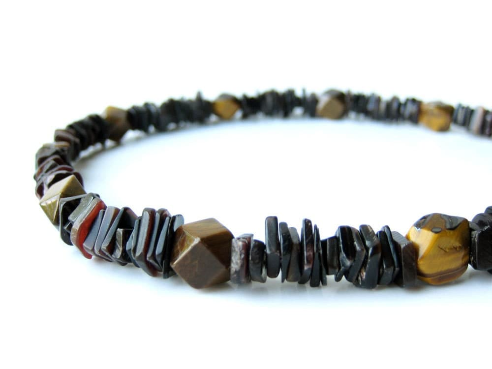 s necklace handmade from black shell and tiger by