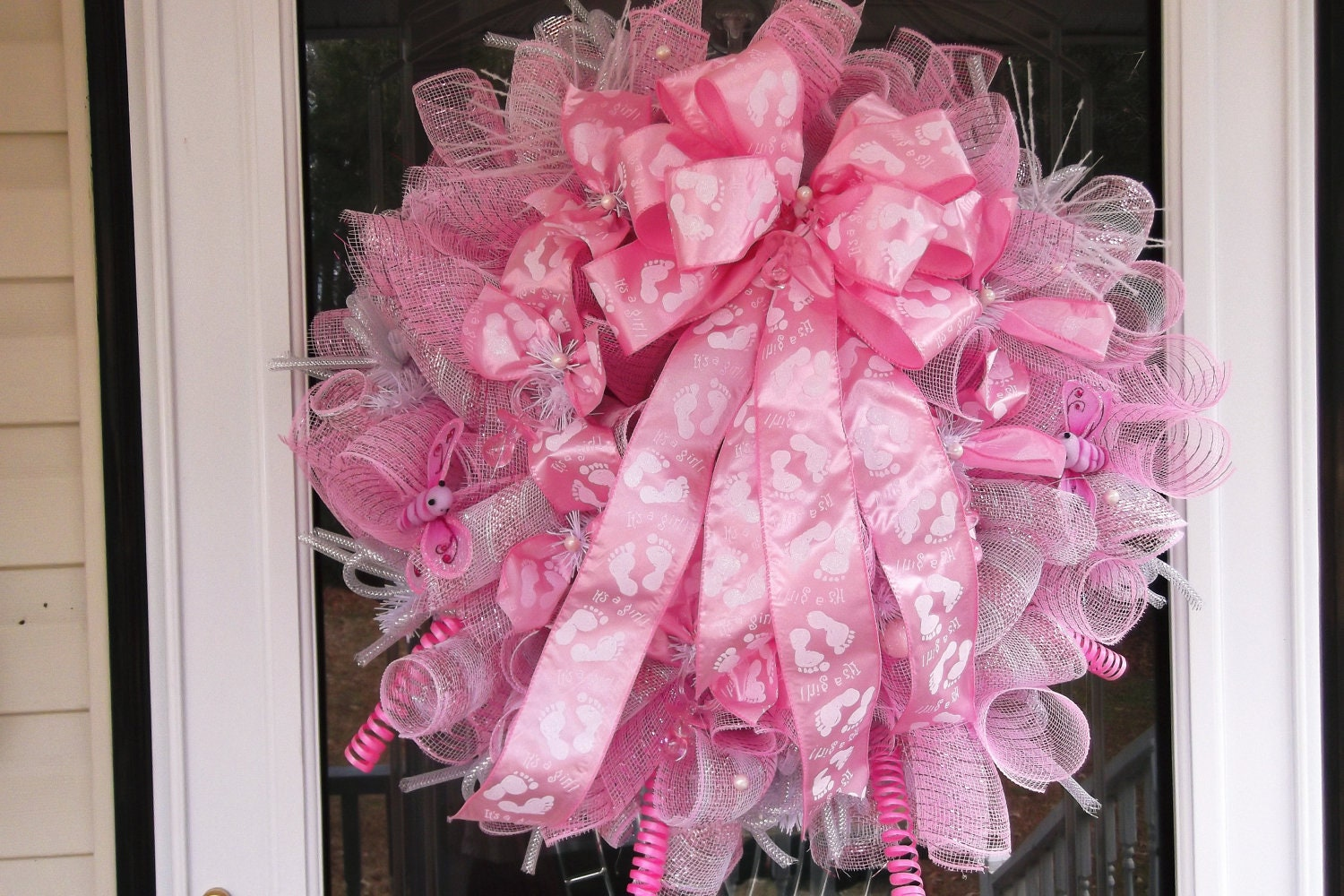 items similar to mesh baby shower wreath on etsy