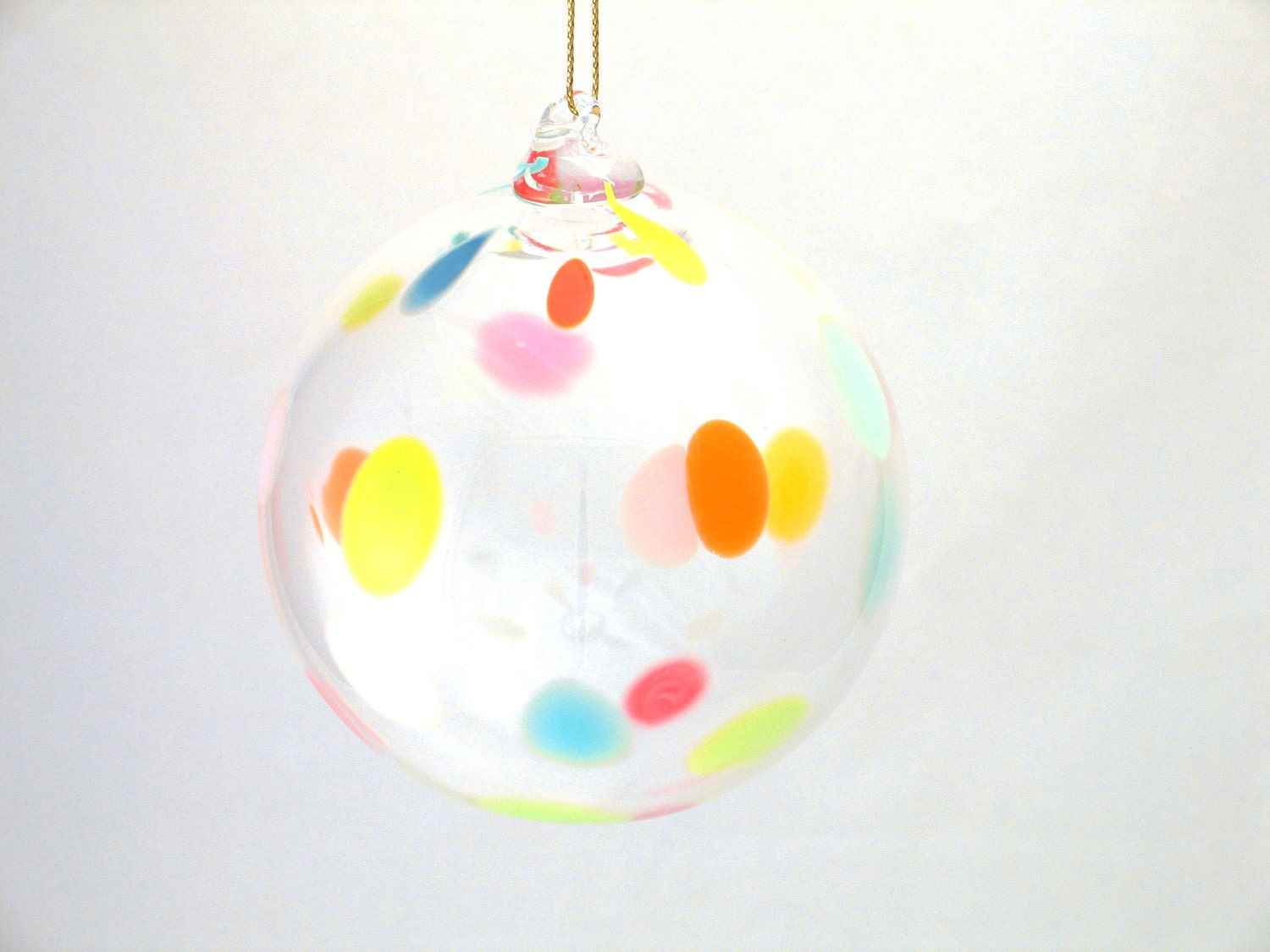 Glass Christmas Ornament Suncatcher - Colorful Polka Dots - Glass Ball - orange yellow pink blue - dreamt ateam oht - Under 25
