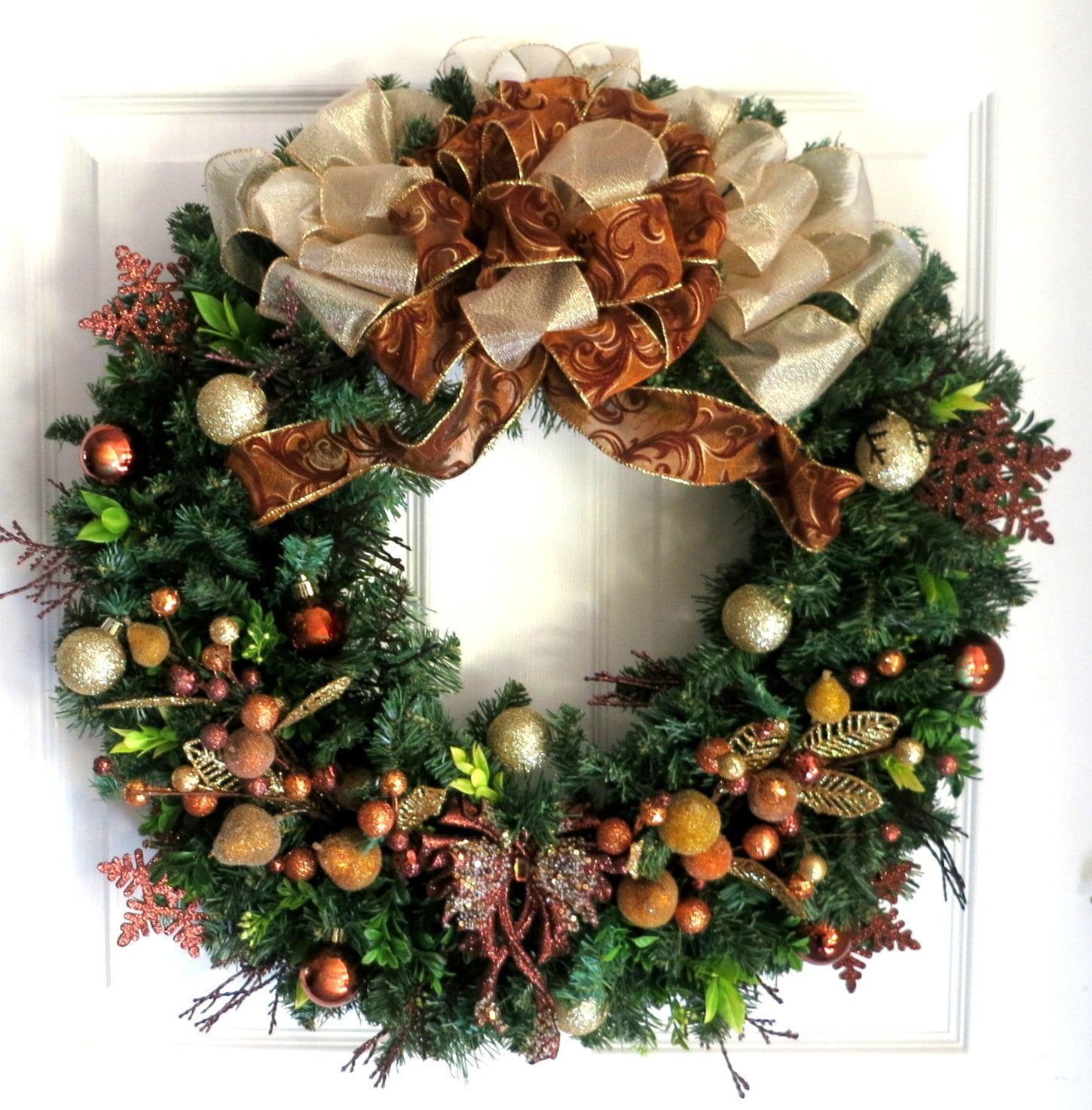 Sale christmas wreath gold bronze by weddingsandwreaths on