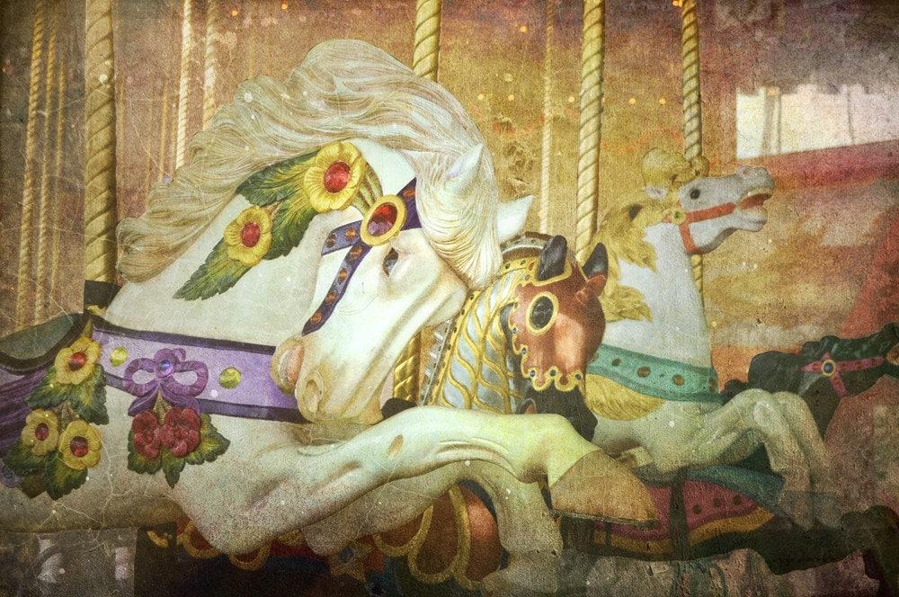 Horses, horses, horses- fine art print of carousel horses by Kevan Moran Aponte - dancingstarbeads