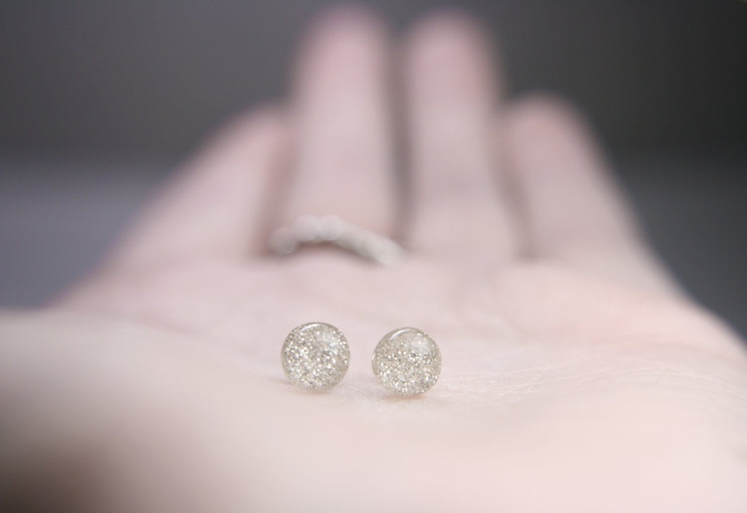 sterling post earrings in sparkly white globe style - 5mm