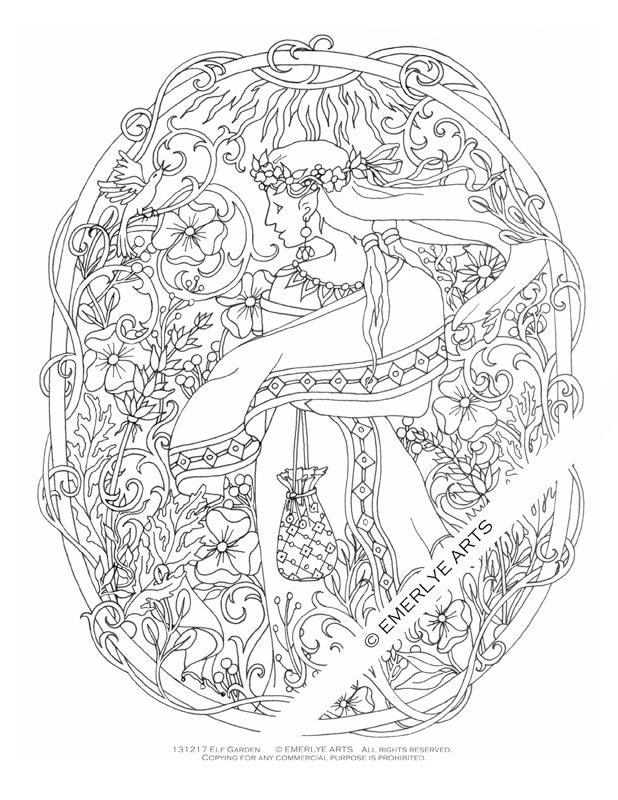 Printable Coloring Page Elf Garden