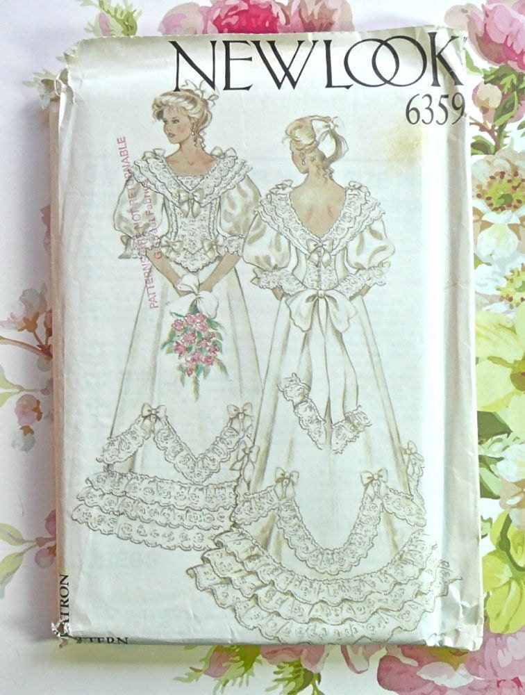 Vintage 1980s Womens Victorian Wedding Dress Pattern New Look 6359