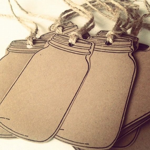 10 Blank Mason Jar Tags 65lb Kraft Brown Cardstock Country Gift Tags ...