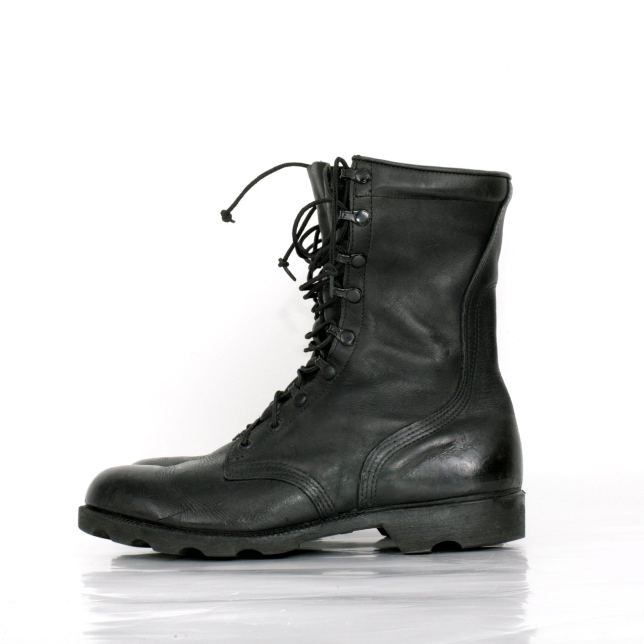 vintage black combat jump boots in leather by xouda on etsy