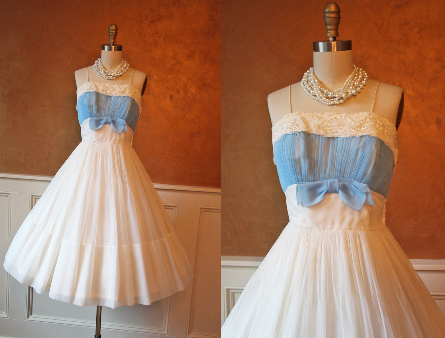 1950s Dress - Vintage 50s Dress - White Chiffon Goddess Cocktail Party Dress S - Something Blue