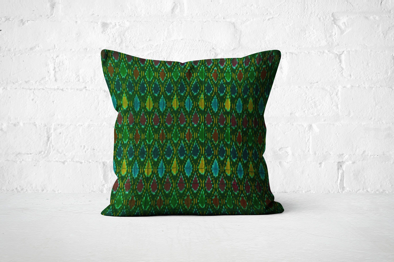 Ikat Pillow Boho bed dcor 18X18 Green Pillow Cover Green Cushion Bohemian cushion Decorative Throw Pillow Girls room dcor pillow