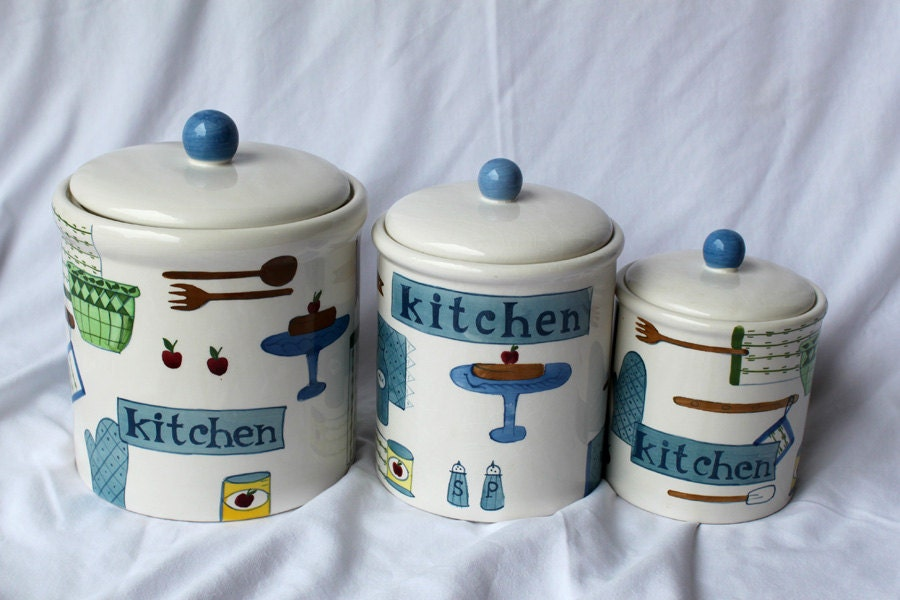 Ceramic Kitchen Canister or Cookie Jar Set Painted Ceramic