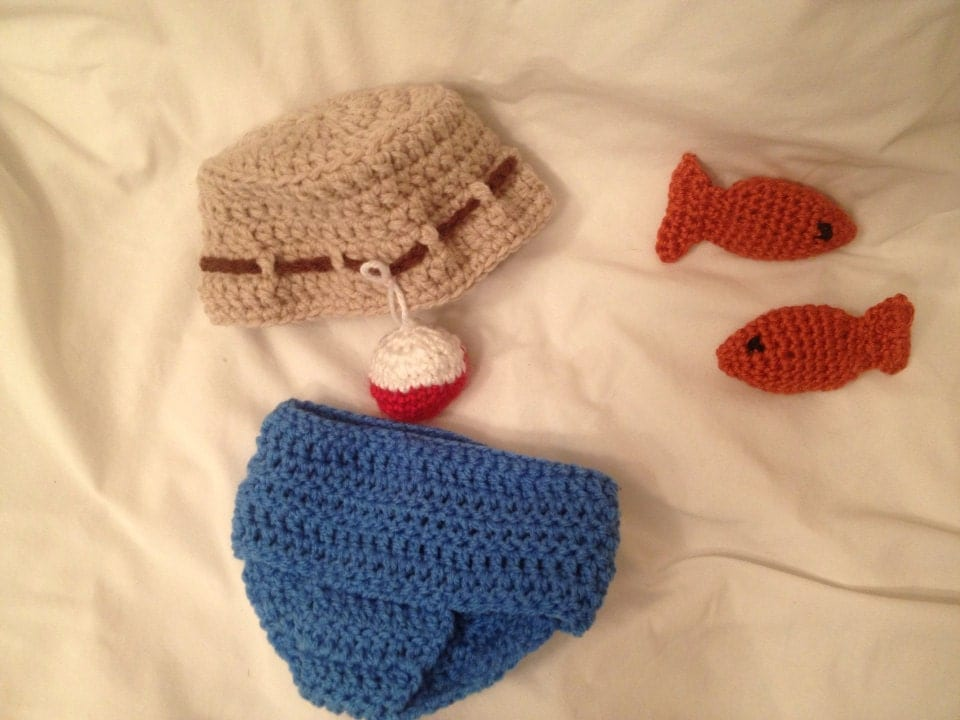 Outfit fishing crochet baby diaper cover hat outfit by for Baby fishing outfit