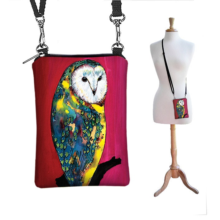 Cute Owl Phone Case Small Shoulder Bag iPhone Purse Cell Crossbody Bag - Clara Nilles Barn Owl pink red yellow green blue (MTO) - janinekingdesigns
