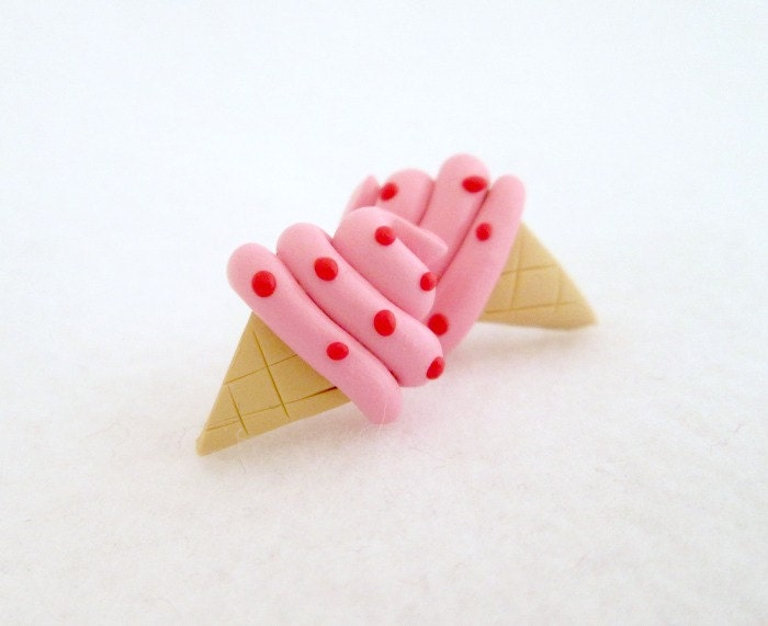 Strawberry Ice Cream Earrings, Polymer Clay