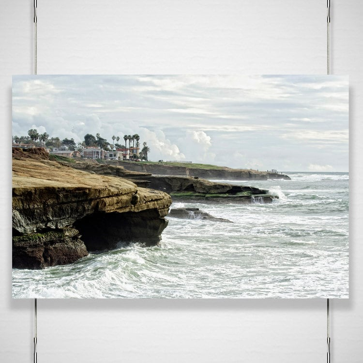 Sea Cliffs Photography - 8x12 photograph print - coastline Sunset Cliffs La Jolla California beach cottage office wall room decor 'Iron Sea' - BokehEverAfter