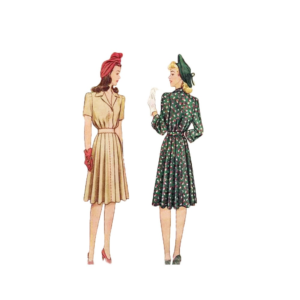 1940s misses dress sewing pattern pleated skirt by