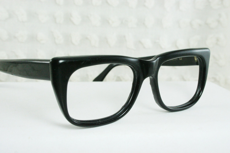 60s glasses 1960 s mens eyeglasses black flat by