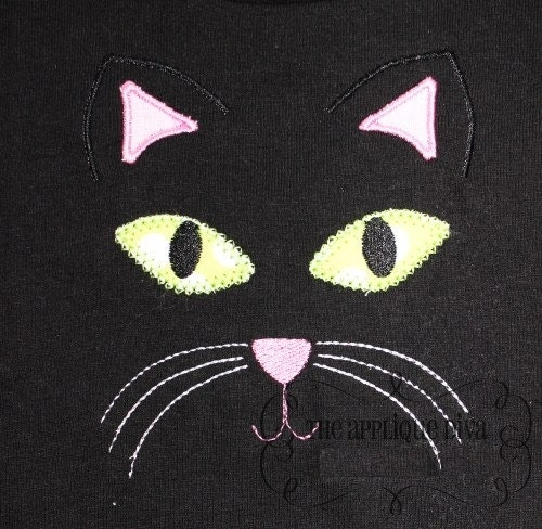 Halloween Black Cat Face Digital Embroidery By Theappliquediva