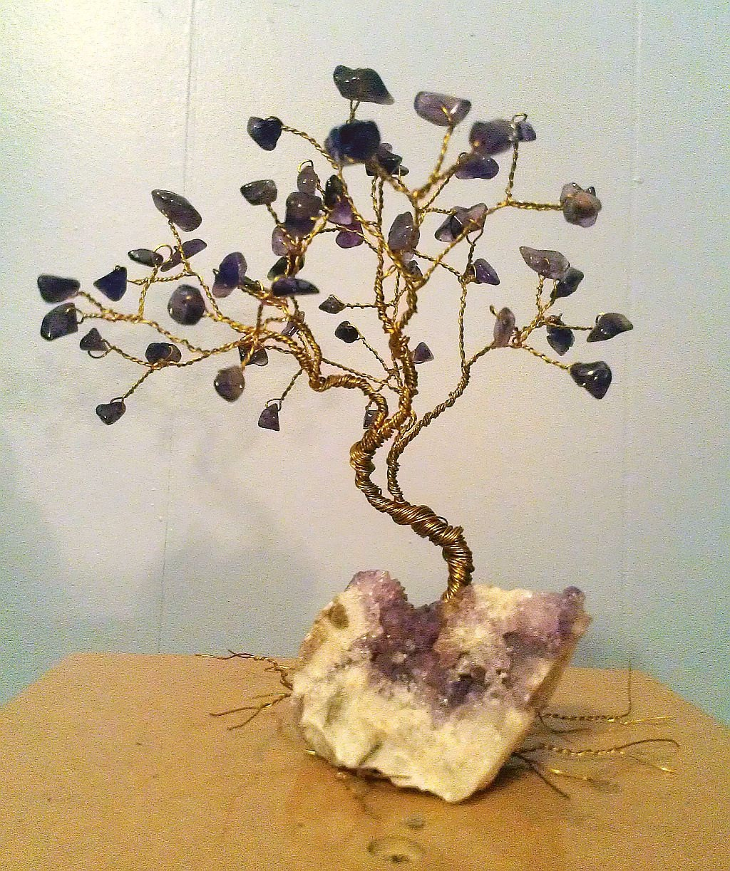 Wire tree sculpture gem tree of life feng shui by for How to make a wire tree of life sculpture