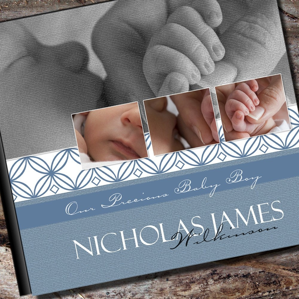 personalized baby boy photo album or scrapbook by albumoptions. Black Bedroom Furniture Sets. Home Design Ideas