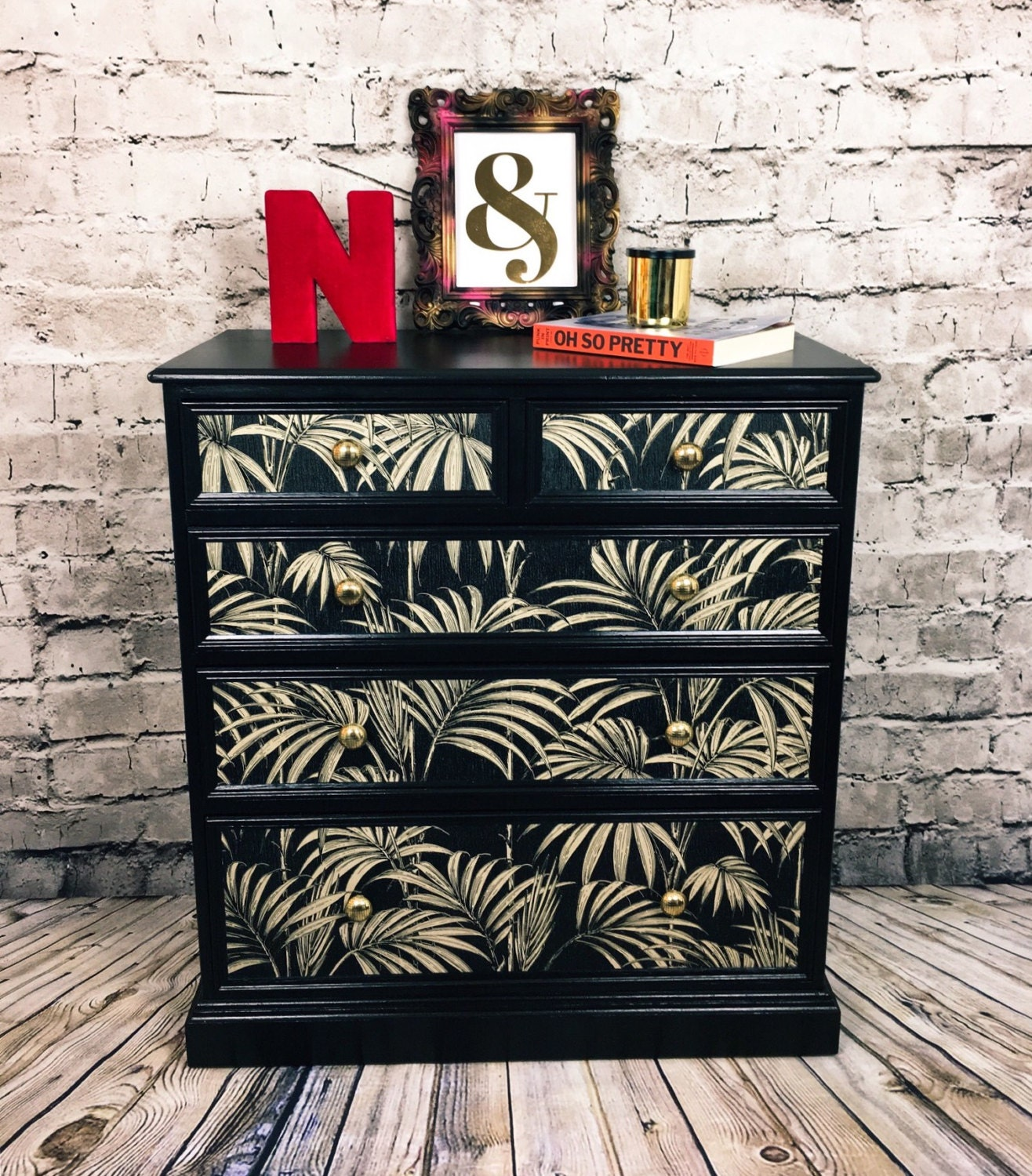 MADE TO ORDERPalm Print Vintage Chest of Drawers Upcycled Bedroom Furniture Black Chest of Drawers Painted Chest of Drawers