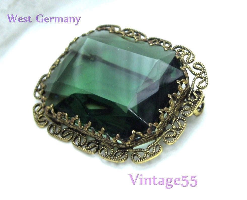 Vintage Brooch Green  West Germany - Vintage55