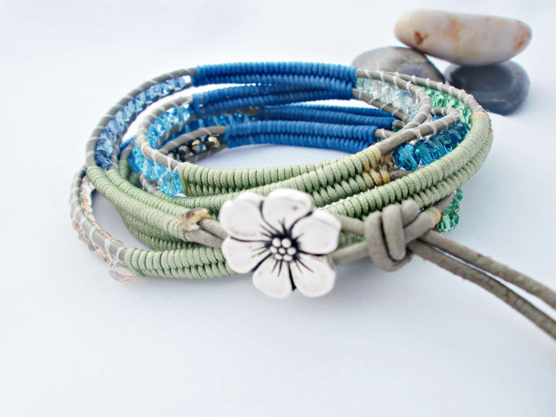 Blue & Peridot Herringbone  Wrap Bracelet Special Discounted Price - cieloturquesa