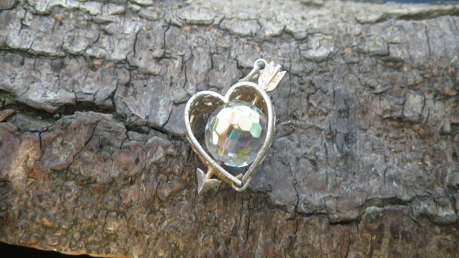 Vintage Sterling Silver Clear Stone Spinning Heart Cupid Charm Pendant