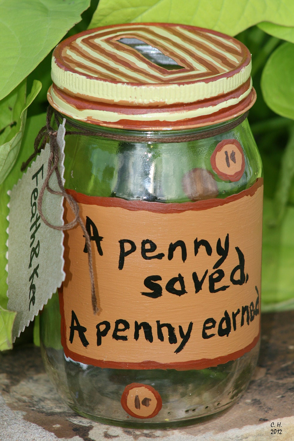 A Penny Saved, A Penny  Earned... Painted Glass Change Jar in Brown and Tan Money Tip Jar Upclycled Eco Friendly home - FeathandKee