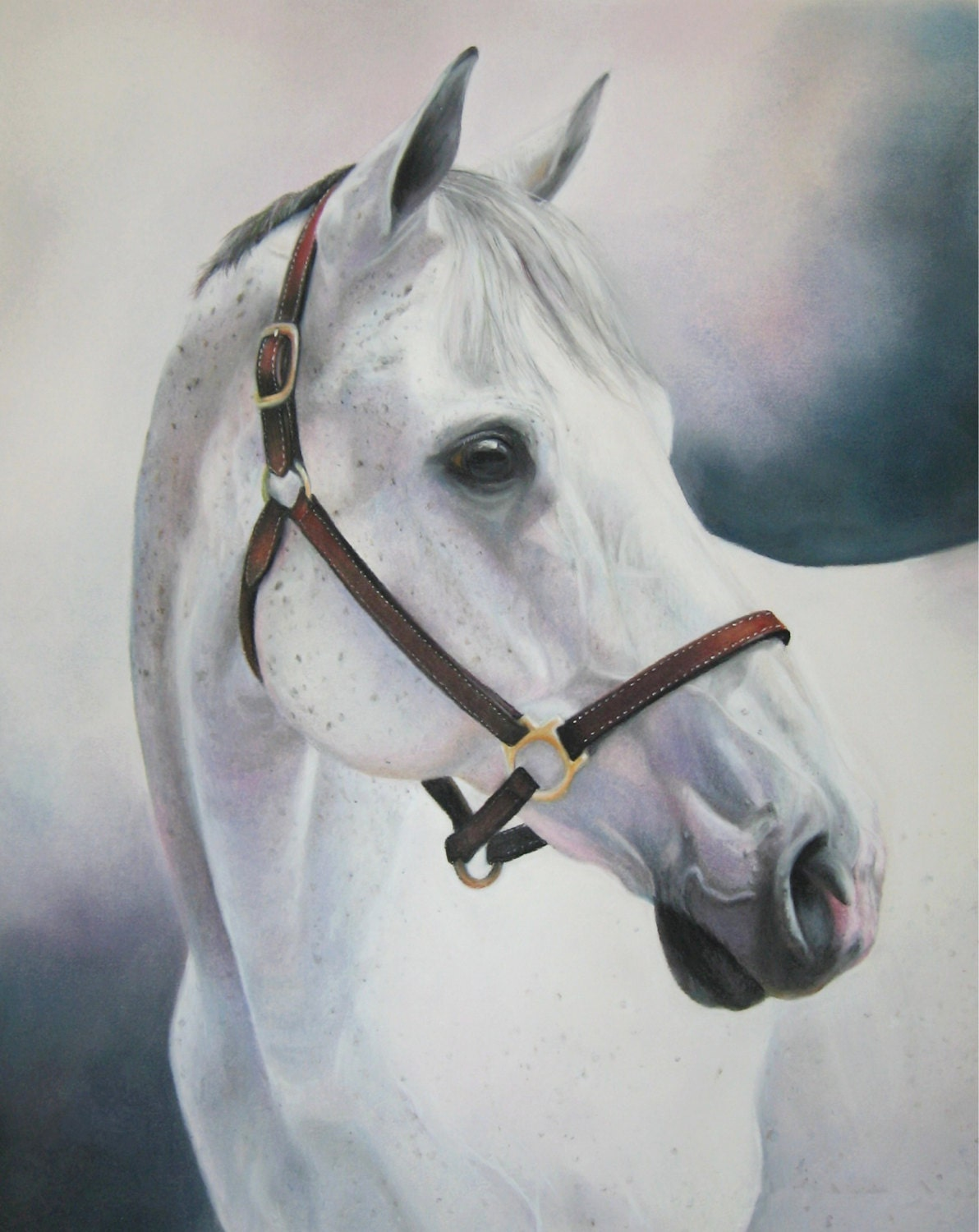 Thoroughbred Horse Print Of Original Pastel By