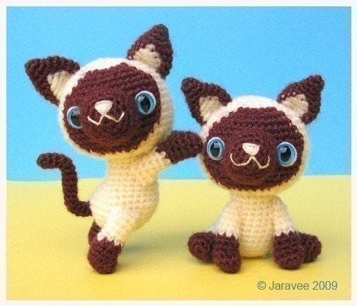 Crochet Patterns Kittens : Siamese Kitten PDF Crochet Pattern by jaravee on Etsy