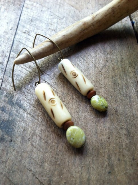 Antique African Bone Beads, Wooden Beads, Yellow Turquoise Gemstones Antique Brass Earrings - FiberBungalow